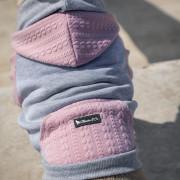 Szürke és rózsaszín kapucnis felső