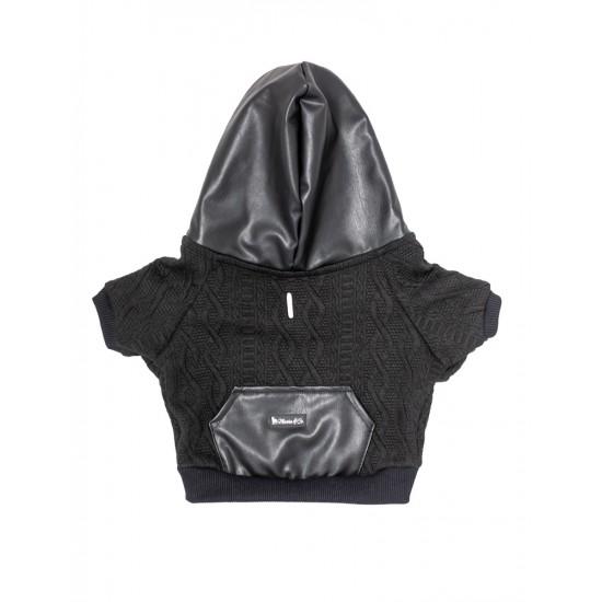 Fekete és fekete bőr kapucnis felső